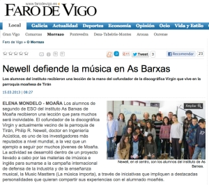 philip r. newell na aula de música do ies as barxas